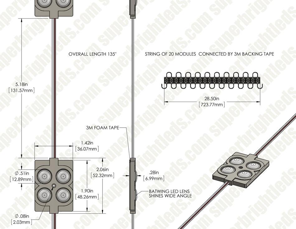 single color led module   4 smd leds