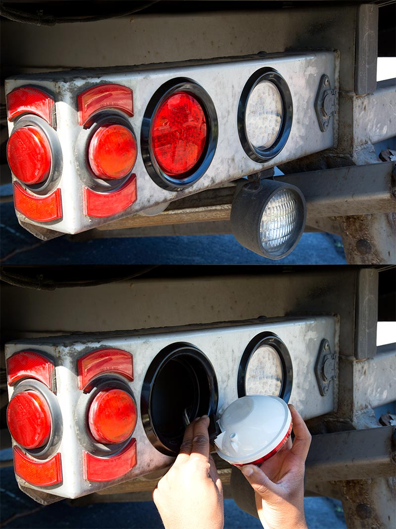 Round LED Truck and Trailer Lights w Reflector  4 LED Brake