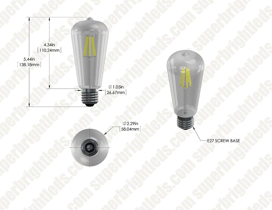 ST18 LED Filament Bulb - 60 Watt Equivalent LED Vintage Light Bulb - Dimmable - 700 Lumens