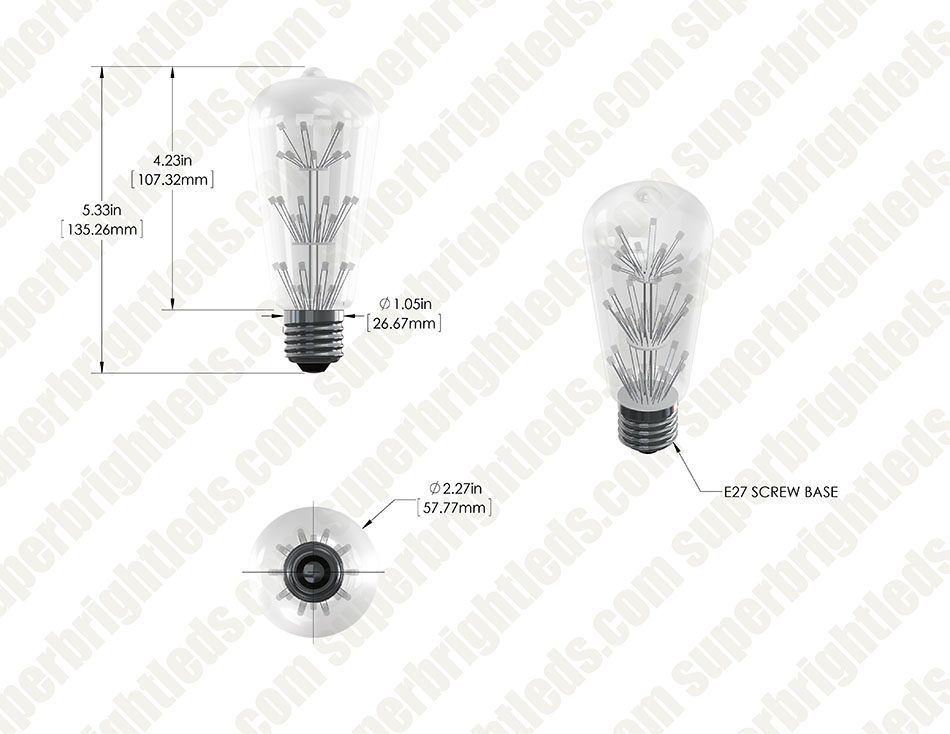 LED Fireworks Bulb - ST18 Shape - Vintage Fireworks LED Bulb - Dimmable