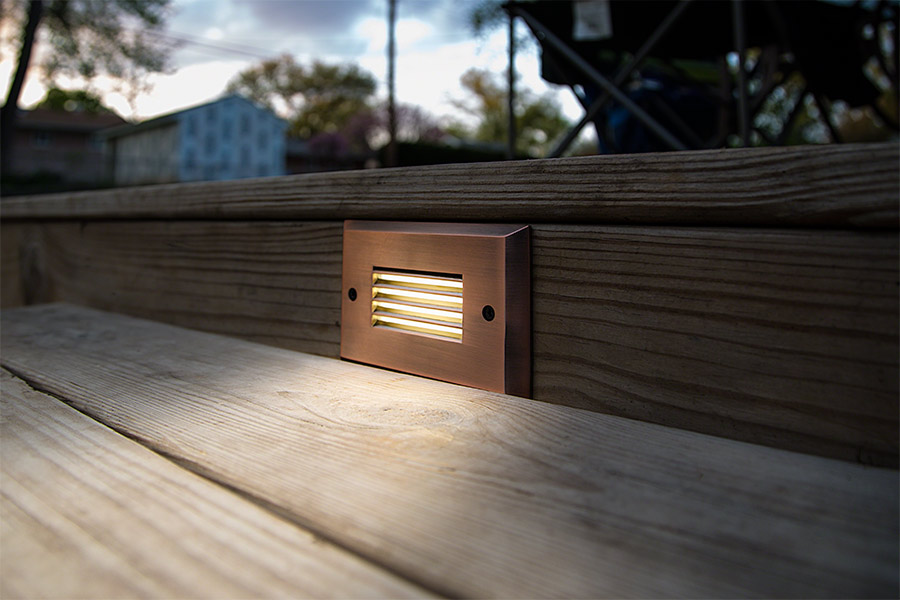 Led step lights rectangular deck step accent light w frosted led step lights rectangular deck step accent light 12v or 120v installed in deck step aloadofball Choice Image