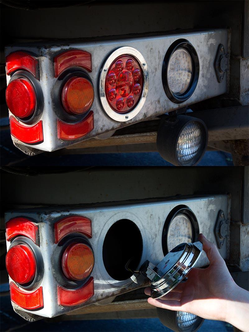 Round LED Truck and Trailer Lights  4 LED BrakeTurnTail Lights