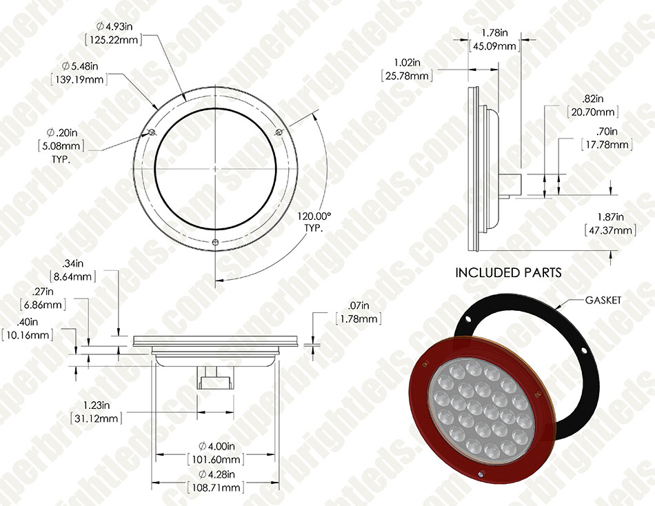 Round Led Truck And Trailer Light W Built In