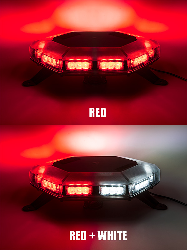 Emergency led light bar 360 degree strobing led mini light bar emergency led light bar 360 degree strobing led mini light bar on showing beam pattern in red red plus white aloadofball Image collections