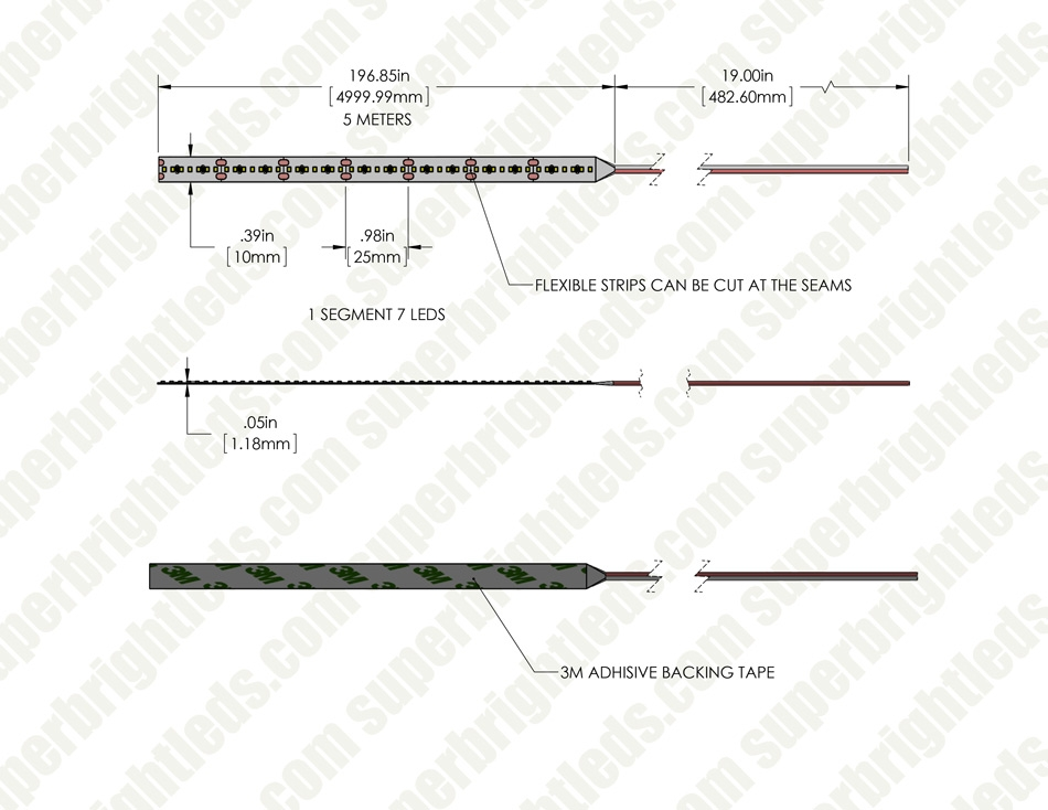2216 White High-CRI LED Strip Light/Tape Light - 24V - IP20 - 400 lm/ft