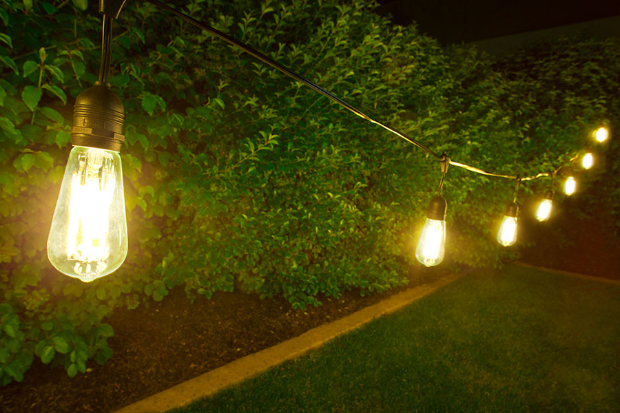 Outdoor LED Decorative String Lights   10 Pendant Sockets   Fits E26 Bulbs:  Shown With ST18D X9DF (Sold Separately) Installed.