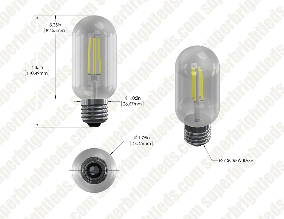 LED Vintage Light Bulb - T14 Shape - Radio Style LED Bulb with Filament LED