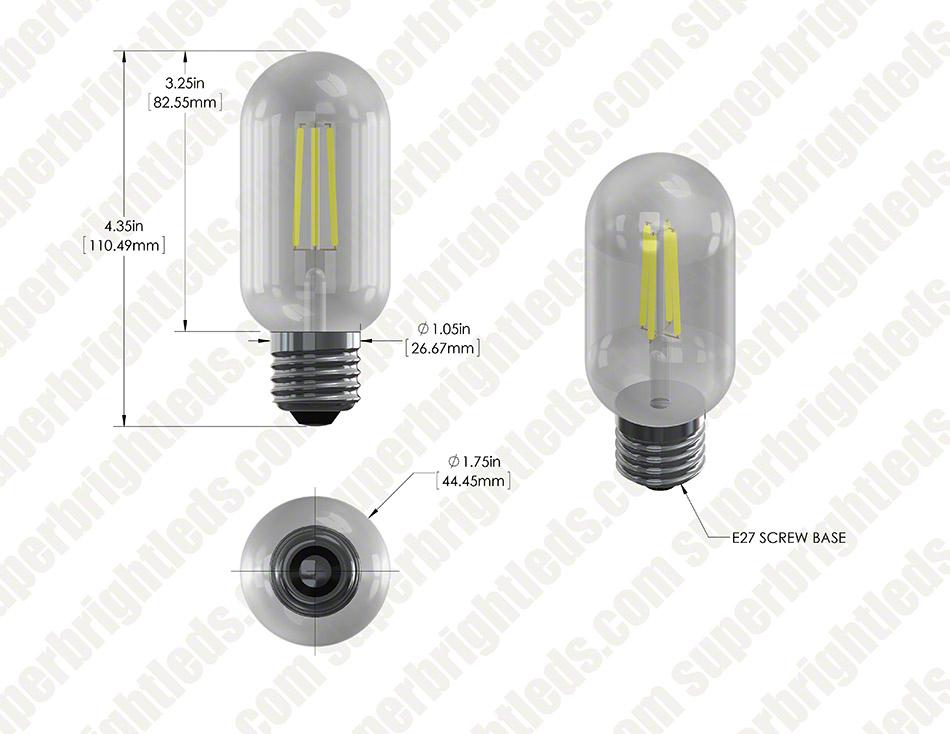 T14 LED Filament Bulb - 40 Watt Equivalent Vintage Light Bulb ...