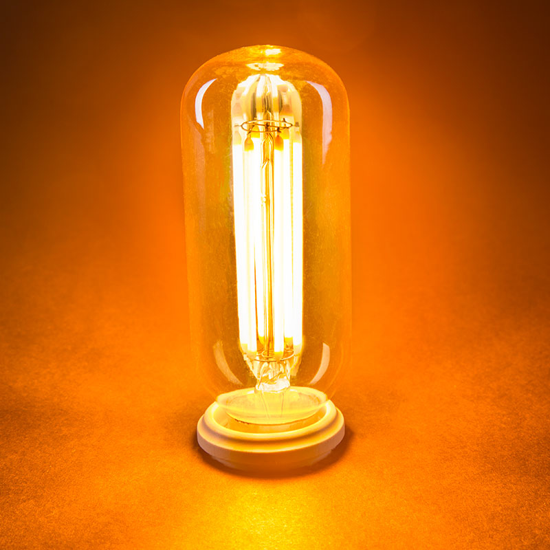 led vintage light bulb radio style t14 led bulb w gold tint filament led dimmable turned on - Antique Light Bulbs
