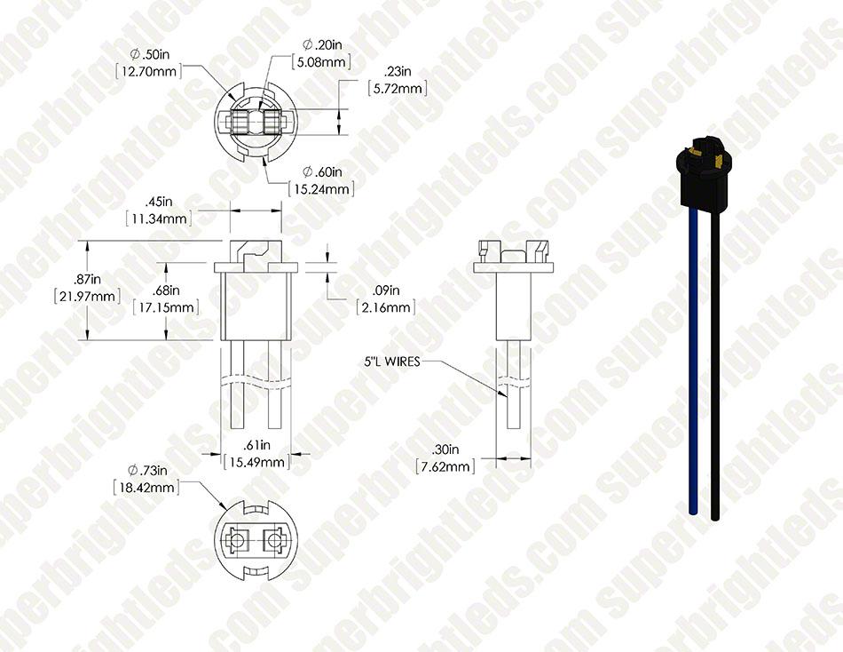 t3 25 wedge base socket wired super bright leds rh superbrightleds com