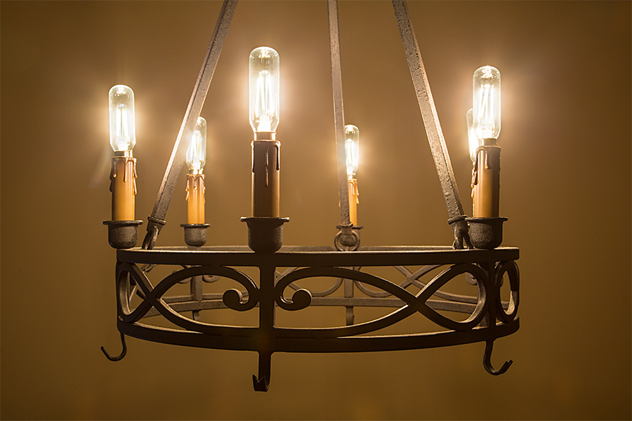 Led Vintage Light Bulb T8 Shape Radio Style Candelabra With Filament Installed In Chandelier
