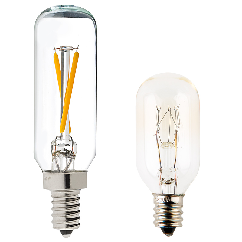 T8 led filament bulb 20 watt equivalent candelabra led vintage led vintage light bulb t8 shape radio style candelabra led bulb with filament led profile view with size comparison to incandescent bulb aloadofball Images
