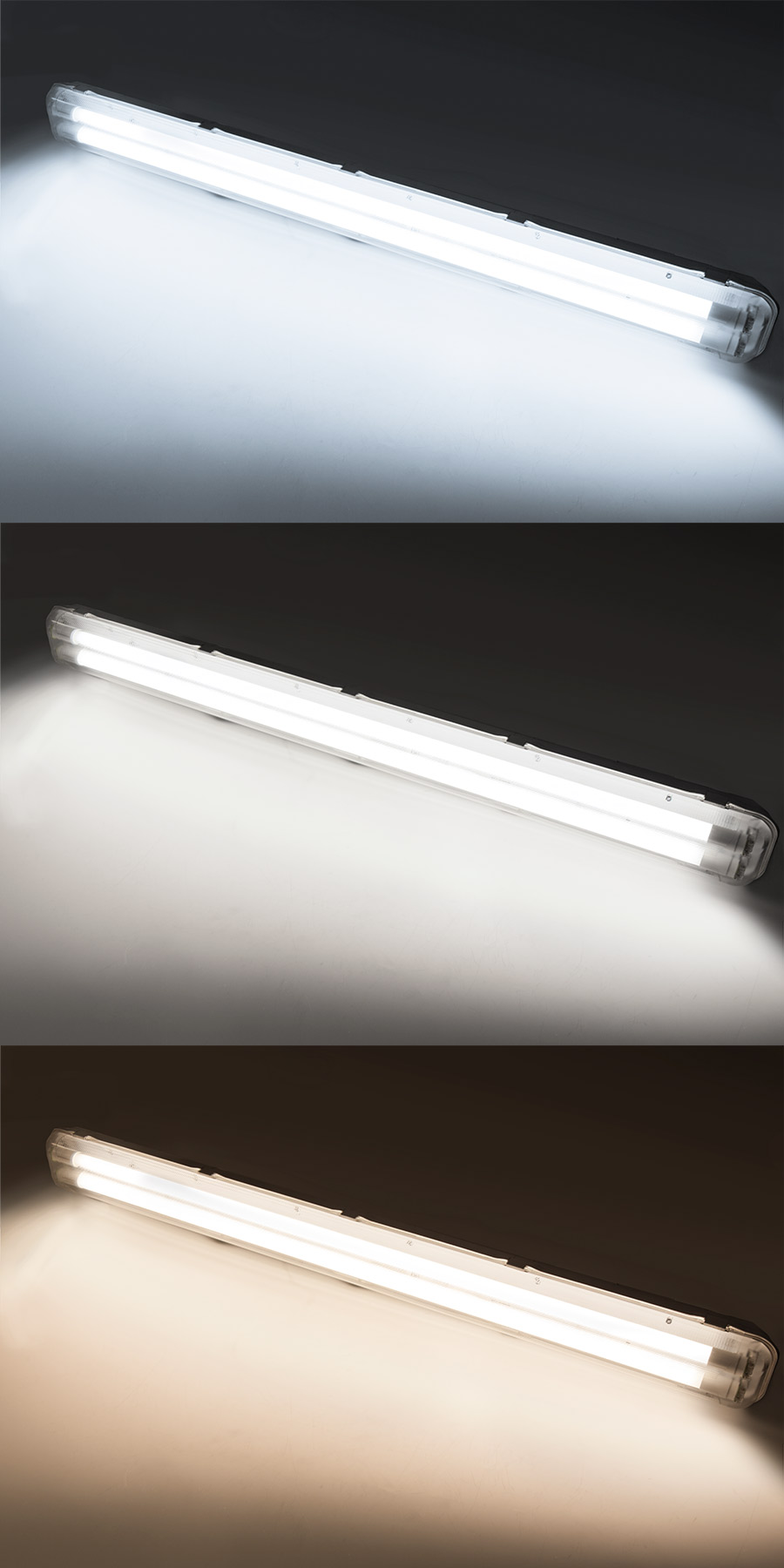 T8 vapor tight led light fixture for 2 led t8 tubes industrial led t8 led vapor proof light fixture for 2 led t8 tubes industrial led light 4 long shown on in cool white top natural white center and warm white arubaitofo Image collections
