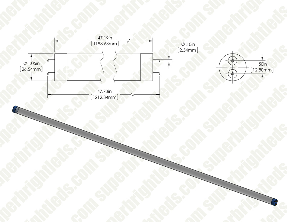 DLC Listed T8 LED Tube - 32W Equivalent - Ballast Bypass/Ballast Compatible F32T8 Type A/B - 2070 Lumens