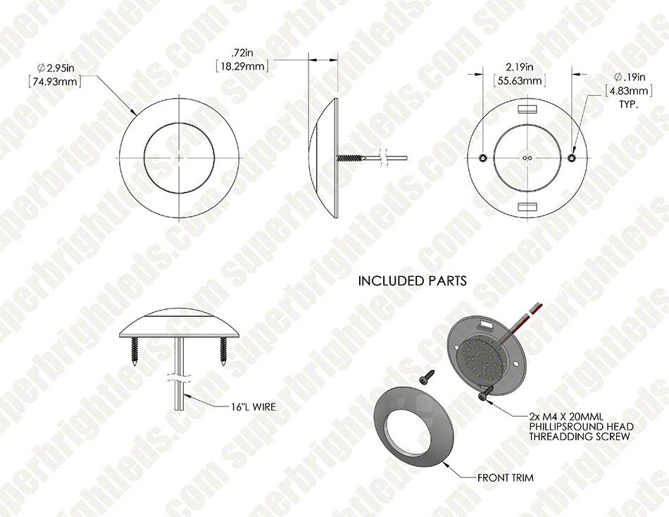 3 25 u201d round led dome light fixture