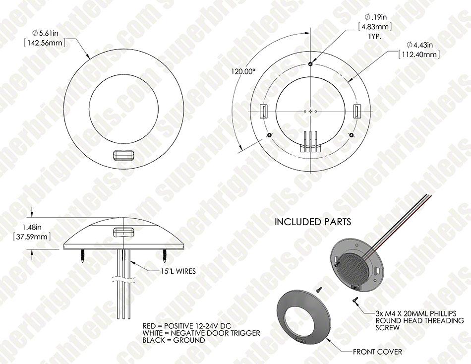 5 5 u0026quot  round led dome light and door light fixture w   switch - 25 watt equivalent