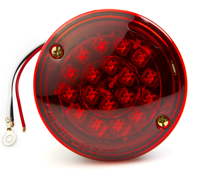 Round LED Trailer Light w License Plate Light  4 LED BrakeTurn