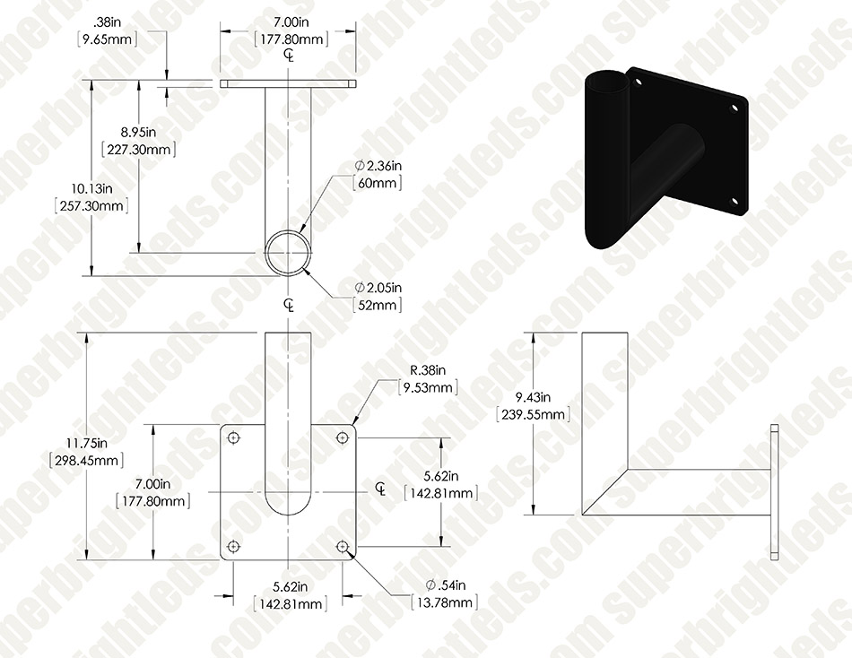 Wall-Mount Bracket for LED Area Lights and LED Parking Lot Lights