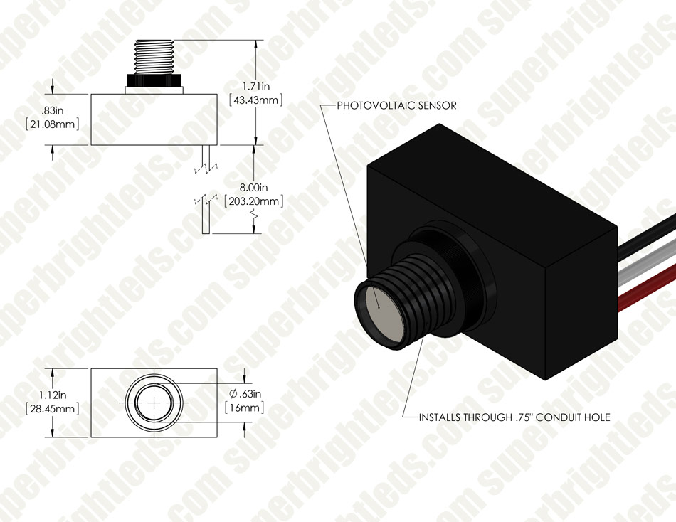Photocontrol LED Wall Pack - 60W (320W MH Equivalent) - 4000K - 7,300 Lumens - Junction Box or Conduit Install