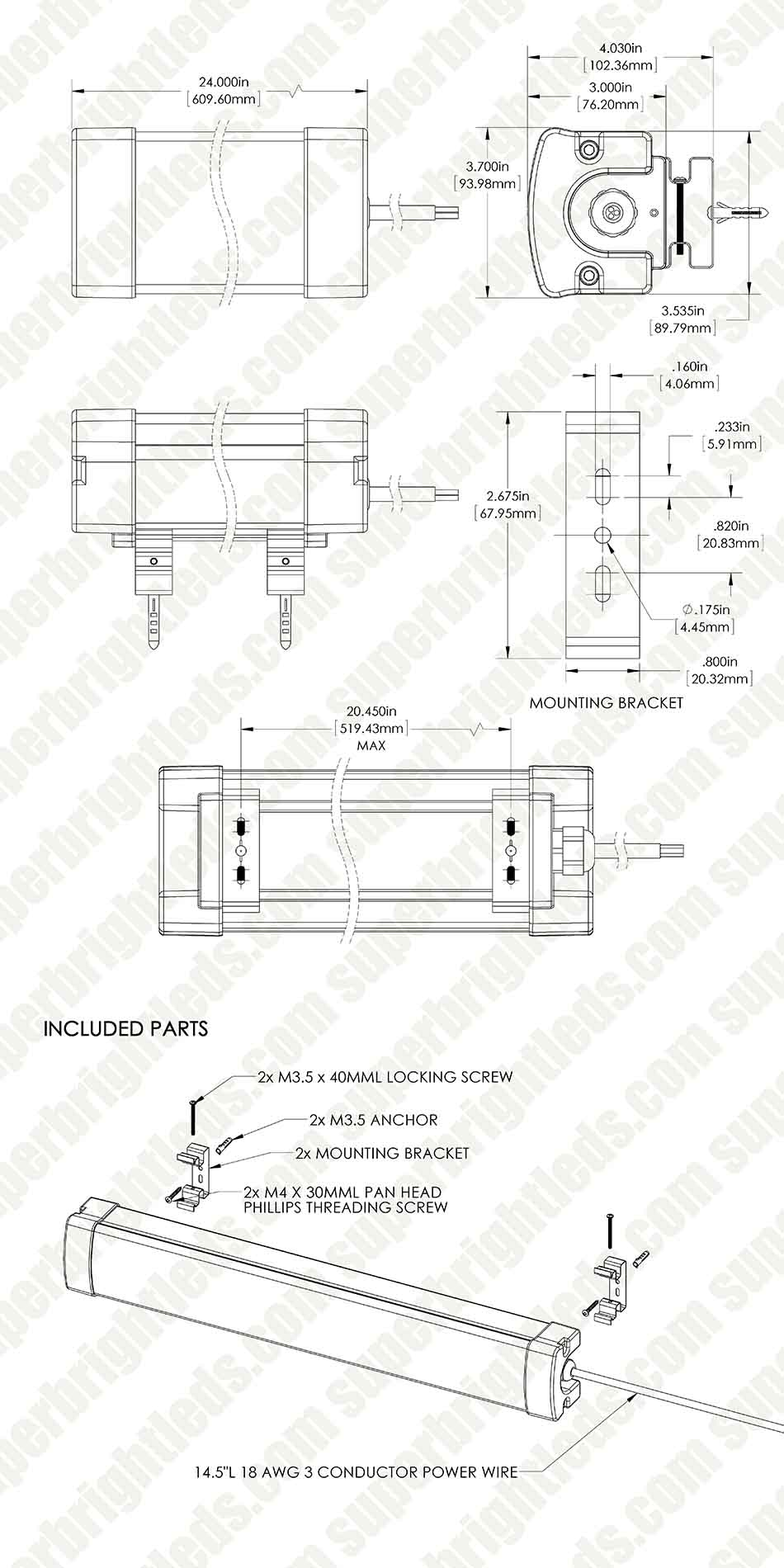 30W Linear LED Light Fixture