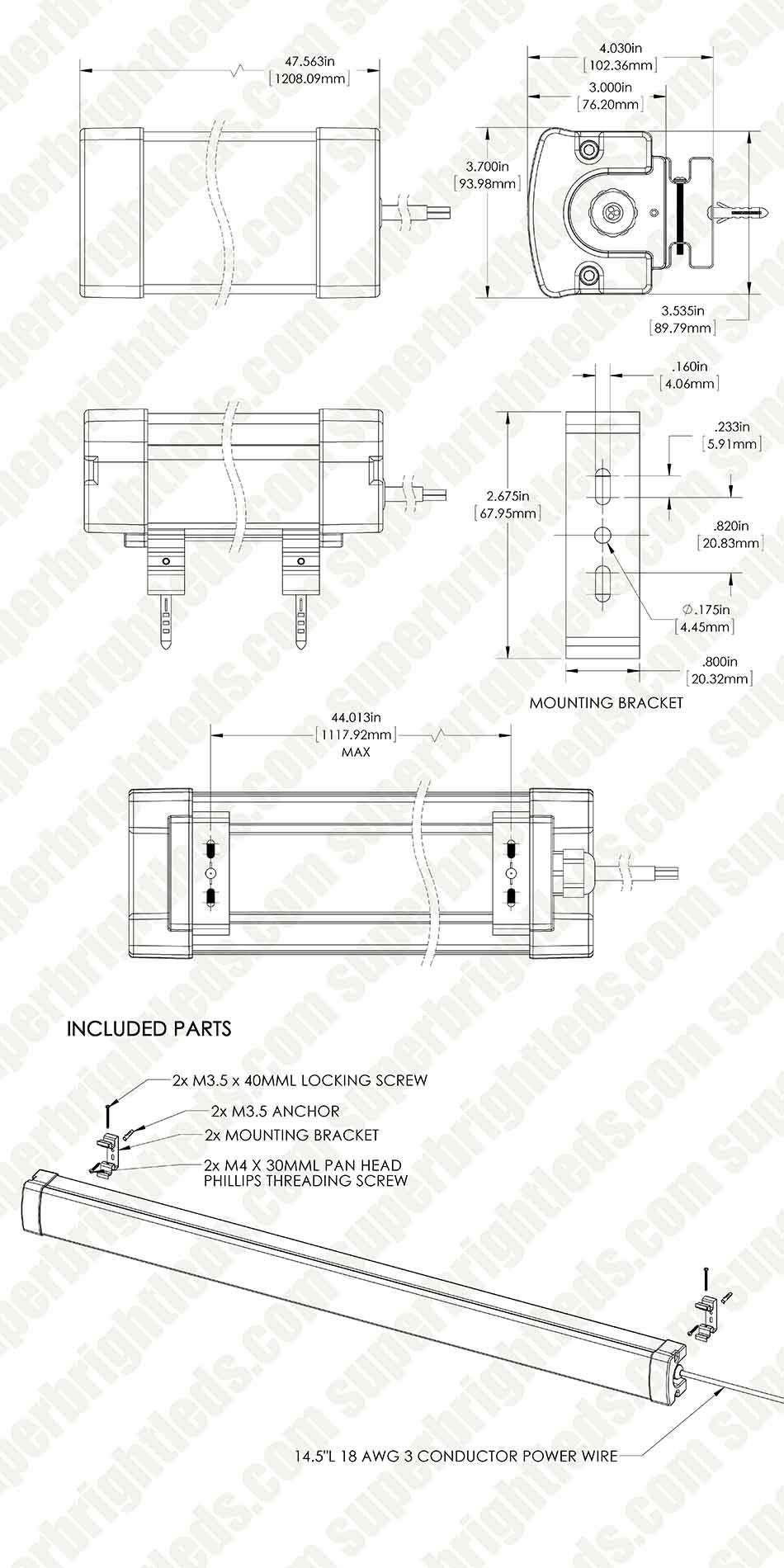 50W Linear LED Light Fixture