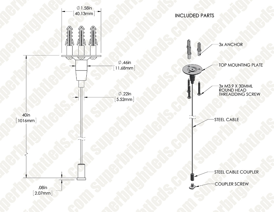 Linkable Linear LED Light Fixture Suspension Kit