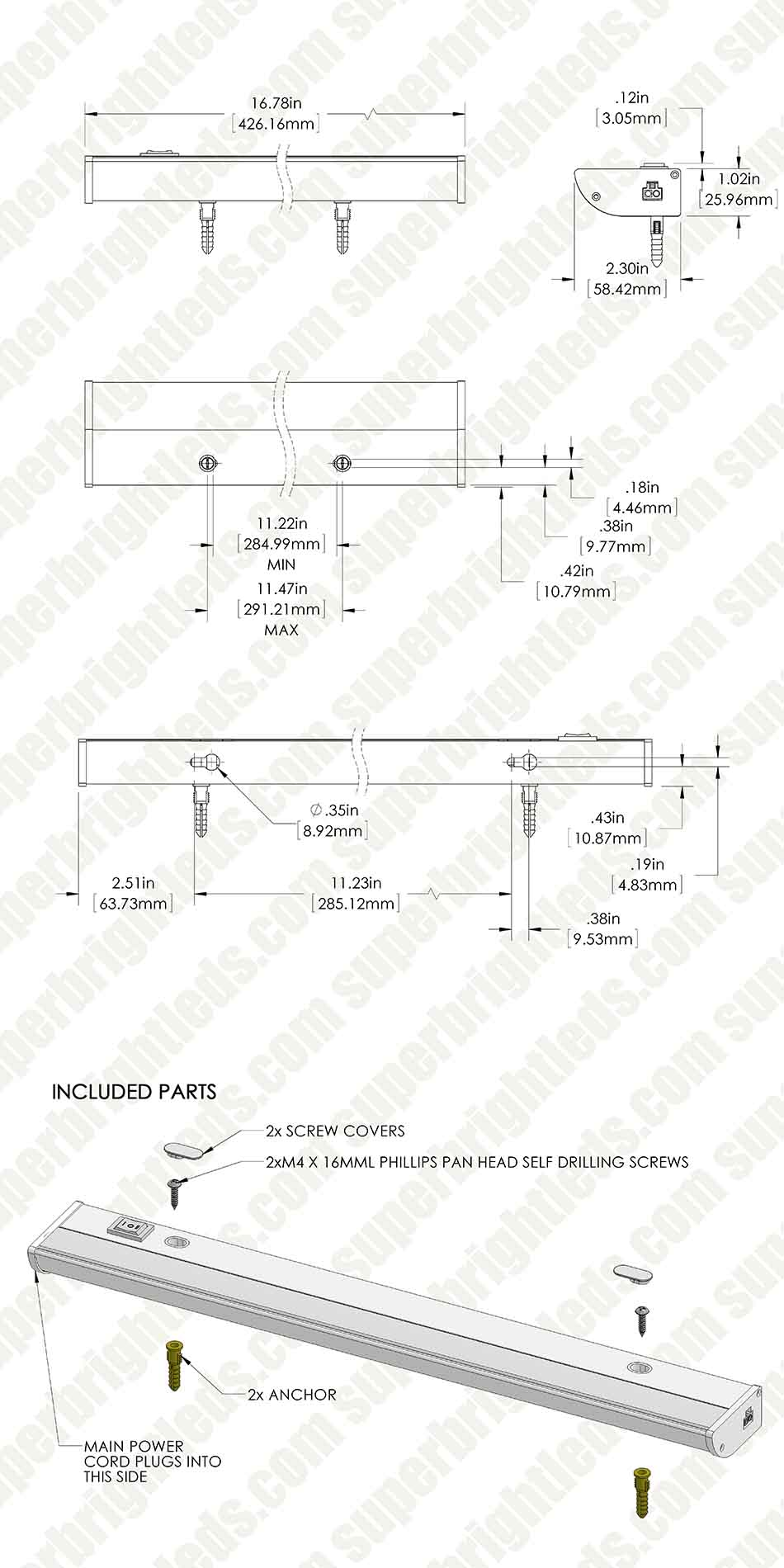 Under Cabinet Led Lighting Dimmable Dimmable Under Cabinet Led Lighting Fixture W Rocker Switch