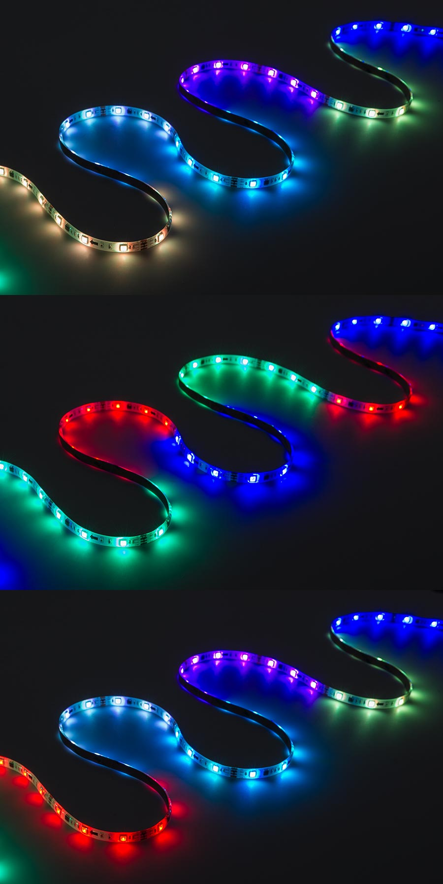Color Chasing RGB LED Light Strip Kit - Flexible LED Tape Light with 9 SMD  LEDs/ft. - 3 Chip RGB SMD LED 5050: On Showing Multiple Color Dreamcolor  Modes.
