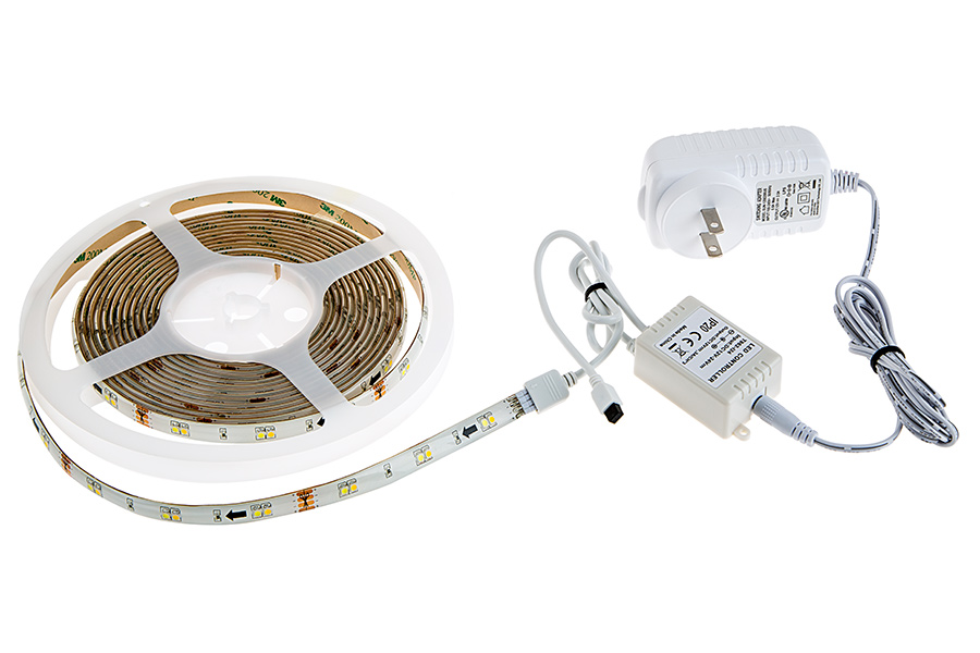 Outdoor tunable white led strip light kit color temperature color temperature changing led light strip kits led tape light with 18 smdsft 3 chip white smd led 5050 connected to ir controller power supply aloadofball Images