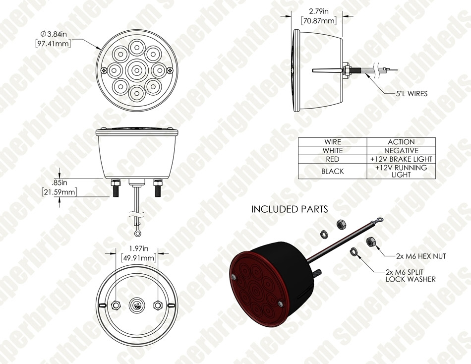 "Round LED Trailer Lights - 4"" LED Brake/Turn/Tail Lights - Pigtail Connector - Stud Mount - 9 LEDs"