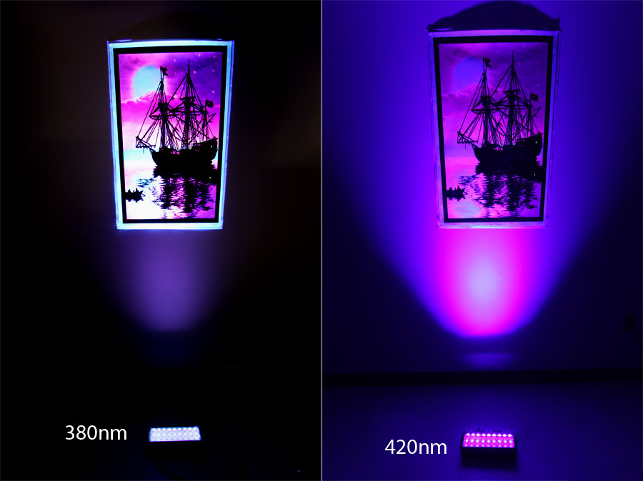 comparison between the 2 ultraviolet wavelengths on a blacklight poster - Black Light Bulbs