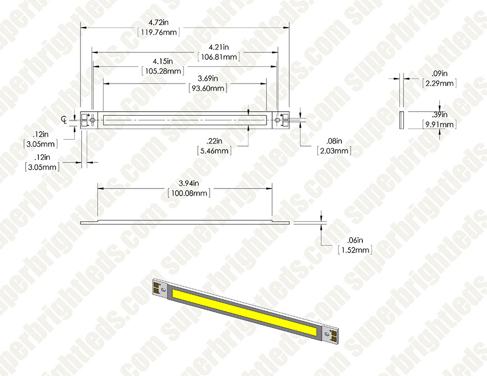 Vollong 3W White High Power Linear COB LED
