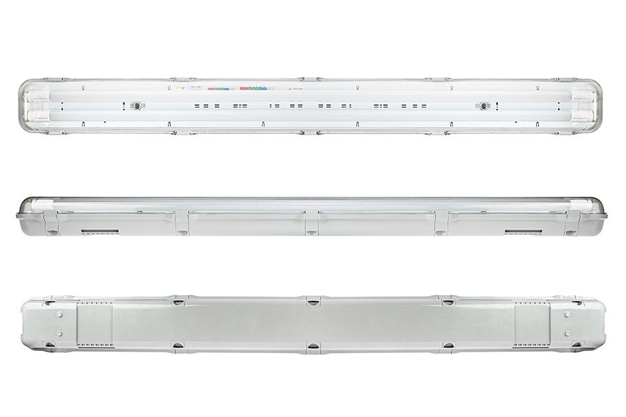 T8 Led Vapor Proof Light Fixture For 2 S Industrial 4 Long Front Profile Back Views