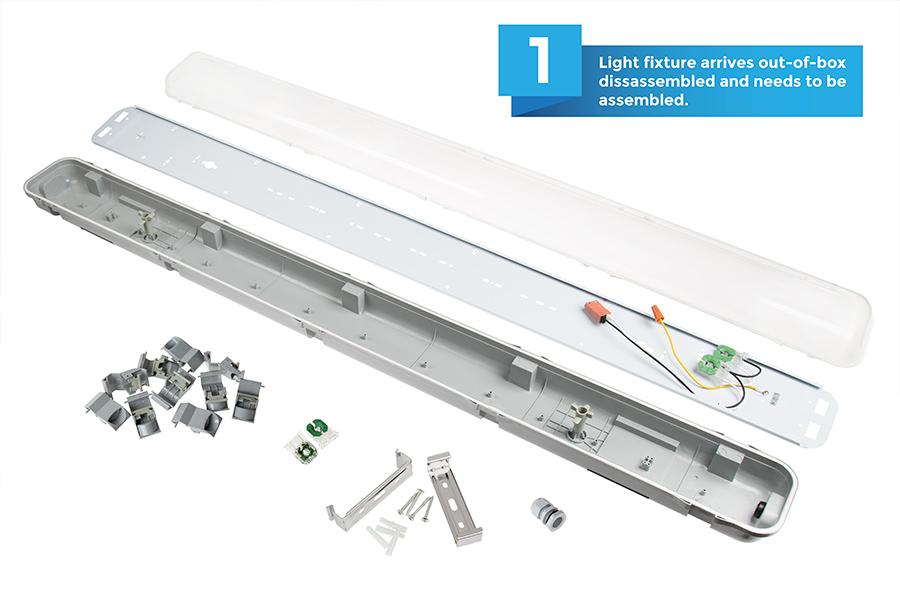 T8 Vapor Tight LED Light Fixture for 2 LED T8 Tubes - Industrial LED