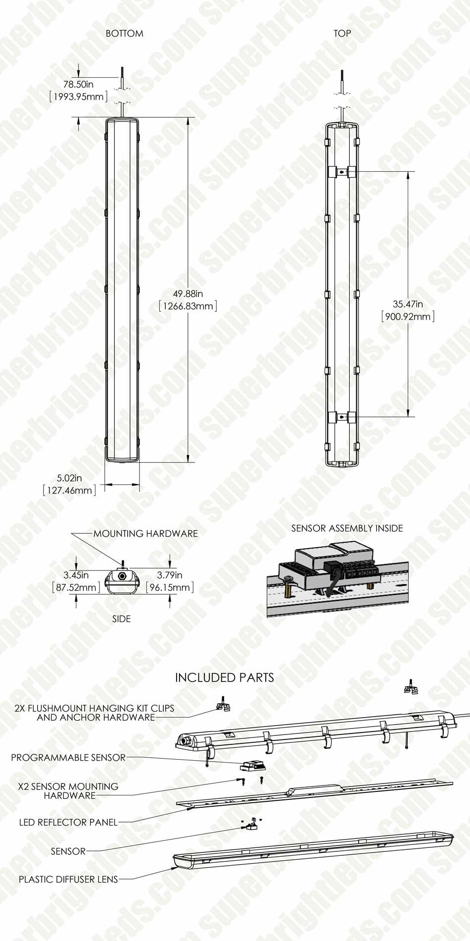 60w Vapor Tight Led Light Fixture Optional Microwave