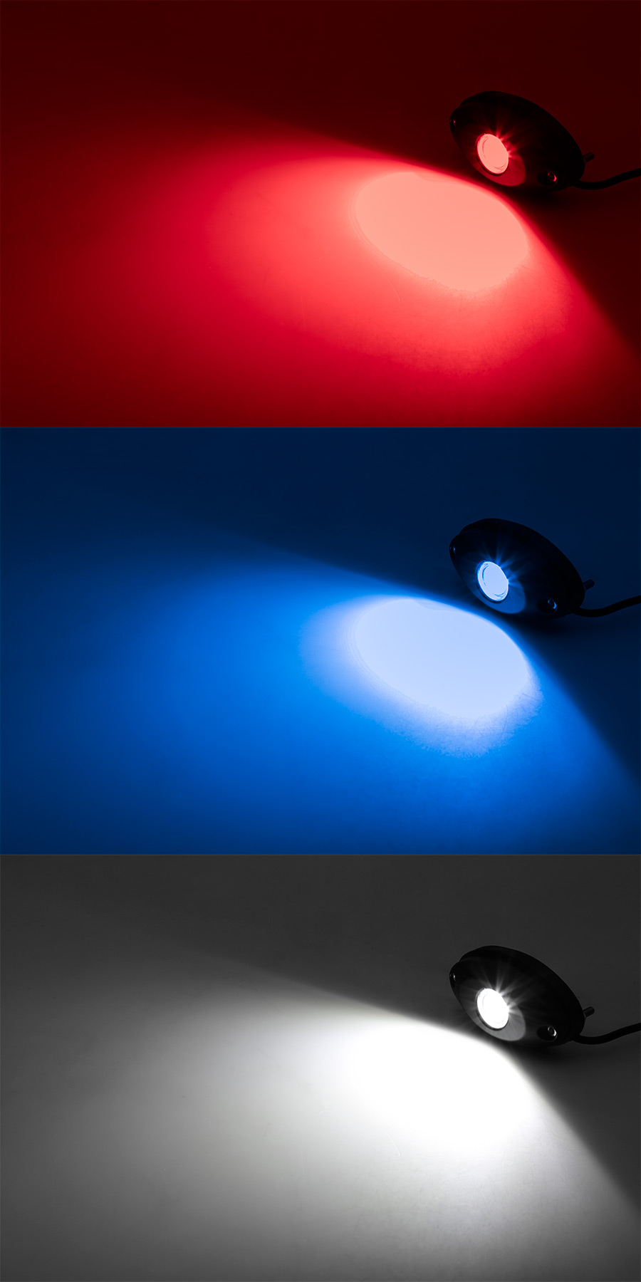 Waterproof Off Road LED Rock Light Replacement Module: On Showing Beam  Pattern In Red, Blue, And White.