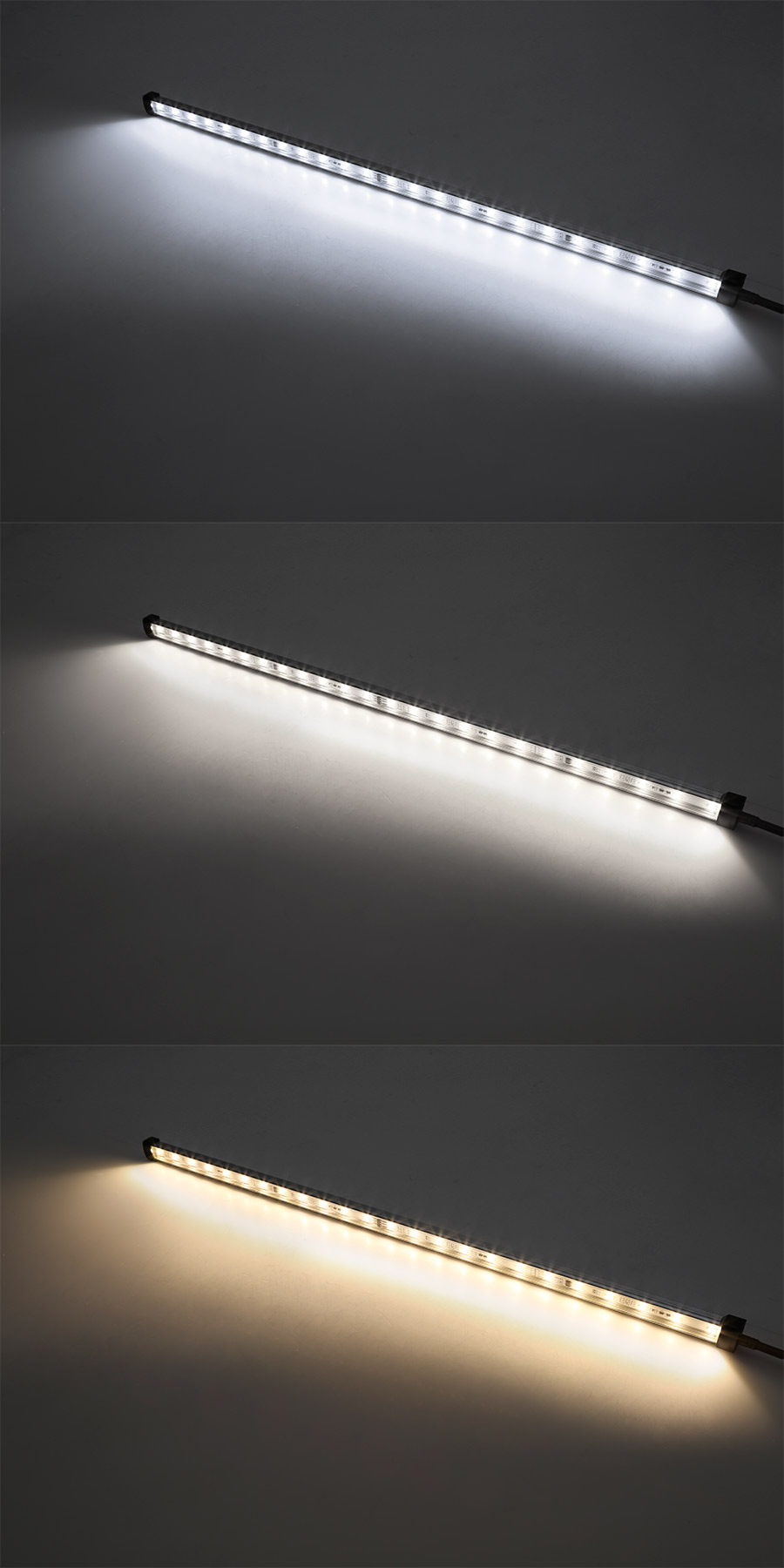 Weatherproof linear led light bar fixture 860 lumens aluminum weatherproof led linear light bar fixture on showing beam pattern in cool white top natural white center and warm white bottom arubaitofo Image collections
