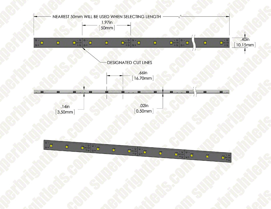 Outdoor LED Strip Lights - Custom Length 12V LED Tape Light - Weatherproof  - 63 Lumens/ft