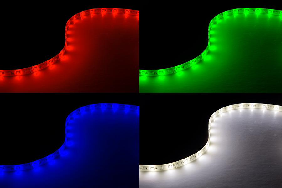 Outdoor LED Light Strips With White And Multicolor LEDs   Weatherproof LED  Tape Light With 18 SMDs/ft.   3 Chip RGBW LED 5050: Turned On Showing Red,  Green, ...
