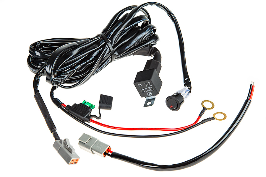 led light wiring harness with switch and relay single channel atp connector wire harnesses