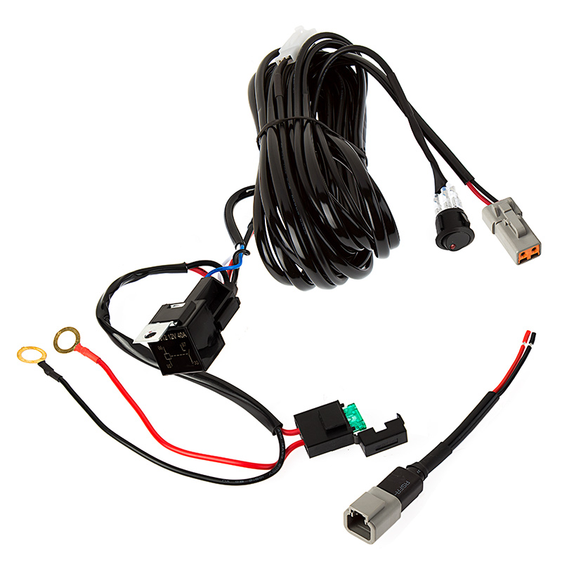 wh atps220 led light wiring harness with switch and relay single channel Custom Automotive Wiring Harness Kits at metegol.co