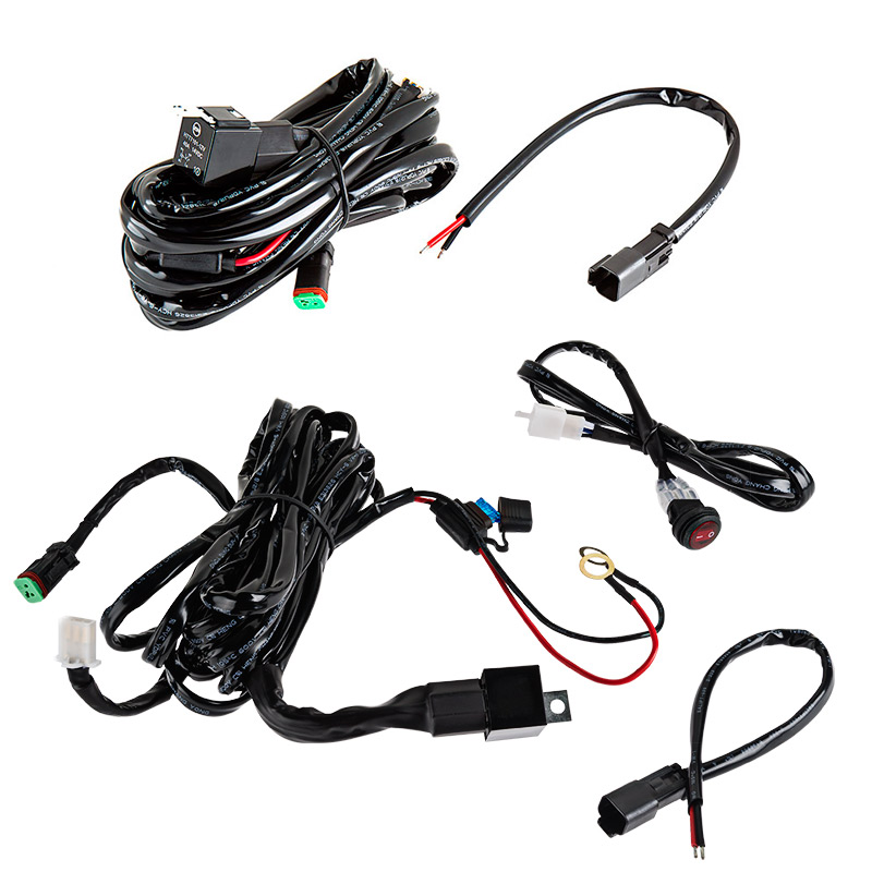 wh dts10 pair led light wiring harness pair with switch and relay dt connector single pin waterproof wire harness at virtualis.co