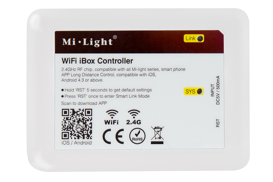 Smartphone Or Tablet Wi Fi LED Controller Hub: Front View Showing Label  Information