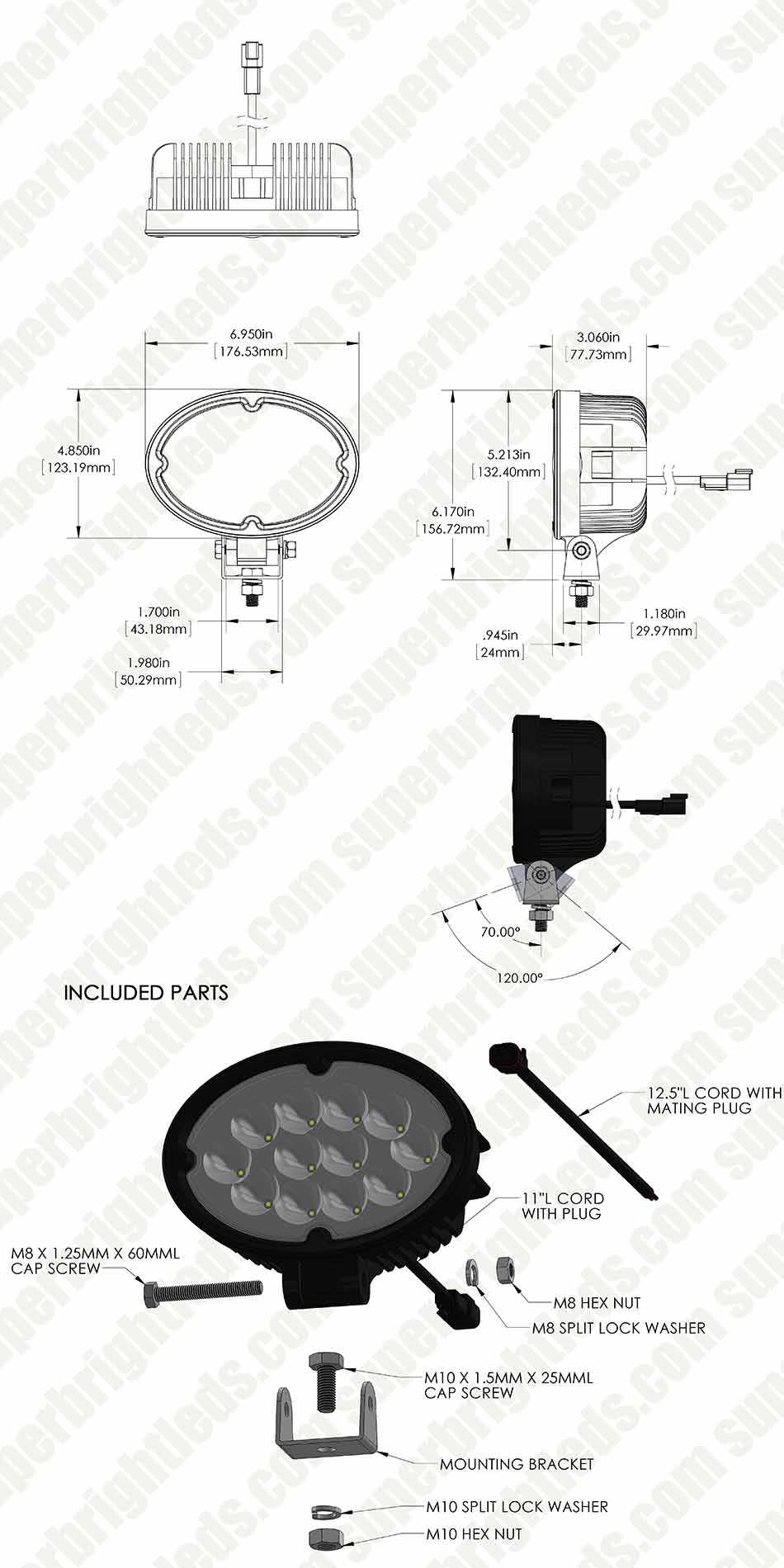 "LED Work Light - 6"" Oval - 36W - 2,700 Lumens"