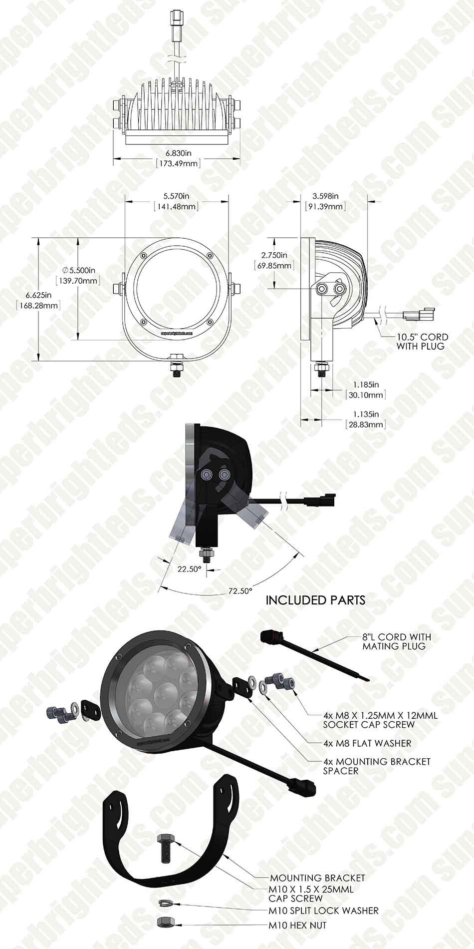 LED Golf Cart Light - 5.5