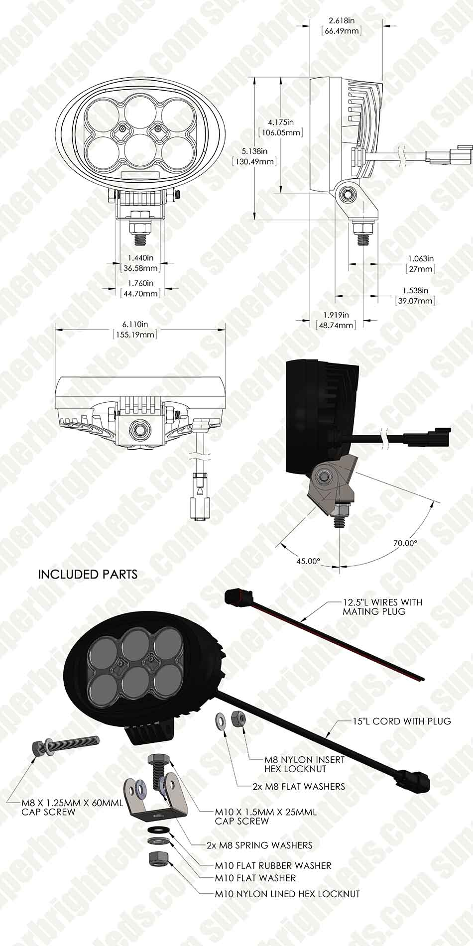 "LED Work Light - 6"" Oval - 60W - 5,400 Lumens"