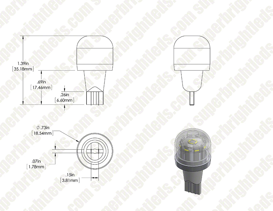 194 led bulb w   stock cover - 12 smd led tower
