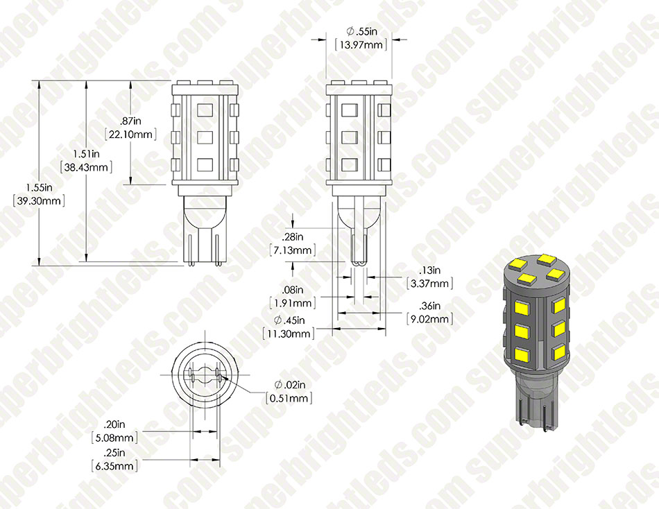 921 LED Bulb - 19 SMD LED Wedge Base Tower