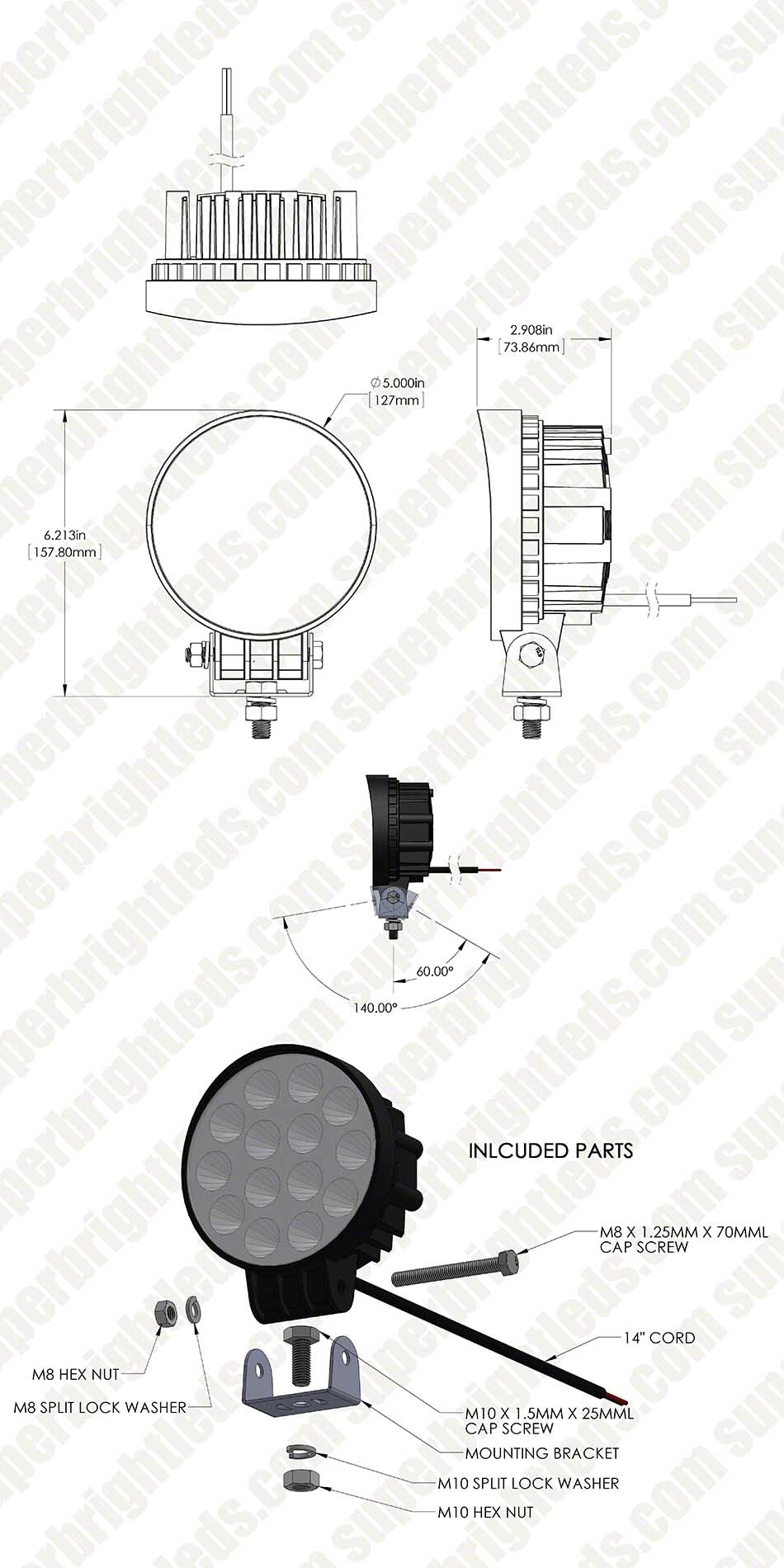 SQUARE LAMP PARTS WLS FORKLIFT WORK LED LAMP 12-48 VDC
