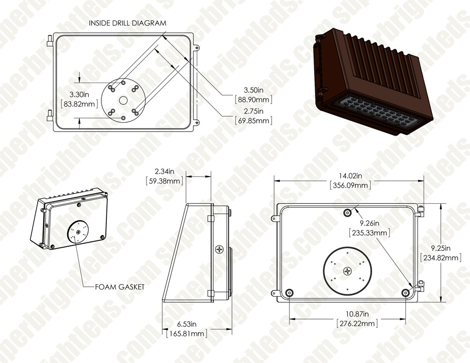 40w full cutoff led wall pack with photocell